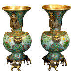 Antiques 古董,Vase Pair 景泰蓝花瓶,Cloisonne 景泰蓝,50 x 24 cm, Late Qing Dynasty 晚清副本